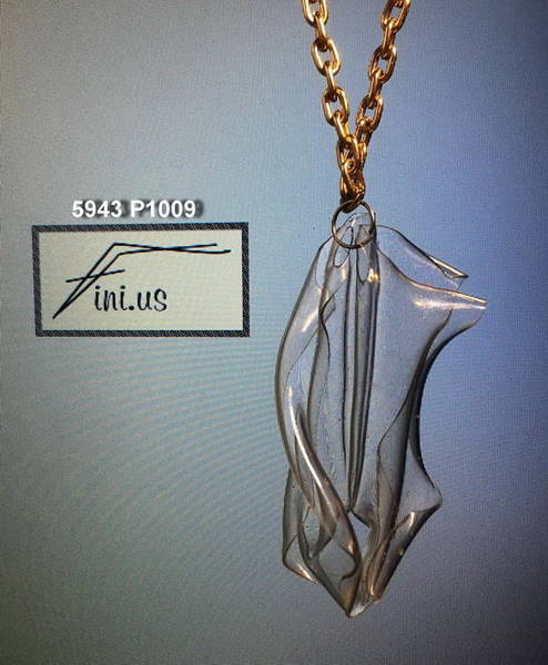 Jewelry - P1009 Clear Sculptured Plastic Pendant by Mary Russell