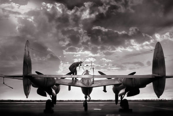 Wall Art - Digital Art - P38 Sunset Mission by Peter Chilelli