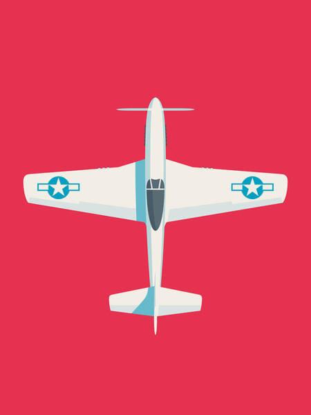 Airplane Digital Art - P51 Mustang Fighter Aircraft - Crimson by Ivan Krpan