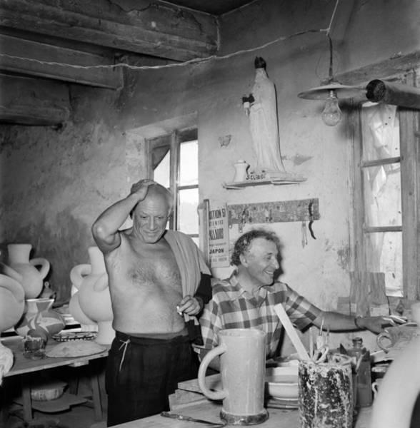 Workshop Photograph - Pablo Picasso And Marc Chagall In 1948 by Reporters Associes
