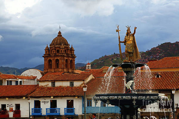 Photograph - Pachacutec And La Merced Church Tower Cusco Peru by James Brunker