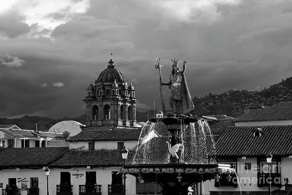 Photograph - Pachacuteq And La Merced Church Tower In Monochrome Cusco Peru by James Brunker