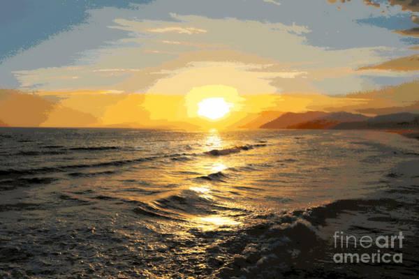 Photograph - Pacific Sunset Impressionism, Santa Monica, California by John Shiron