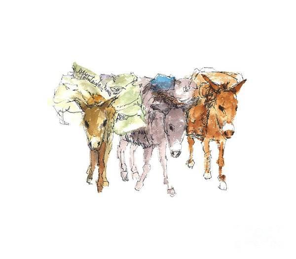 Painting - Pack Burro Watercolor Kathleen Mcelwaine by Kathleen McElwaine