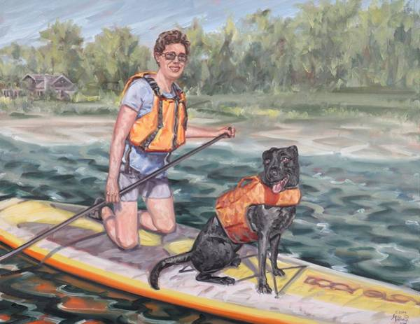 Painting - Paddle Boarding With My Best Friend by Gary M Long