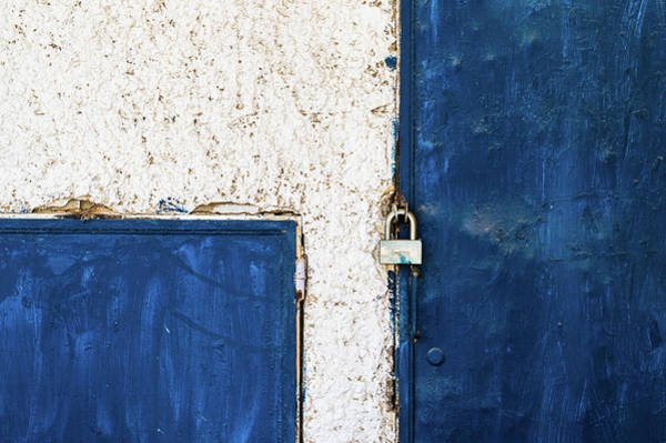 Stucco Wall Art - Photograph - Padlocked Door by Andrew W.b. Leonard