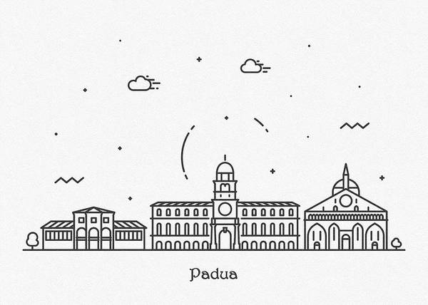 Wall Art - Drawing - Padua Cityscape Travel Poster by Inspirowl Design