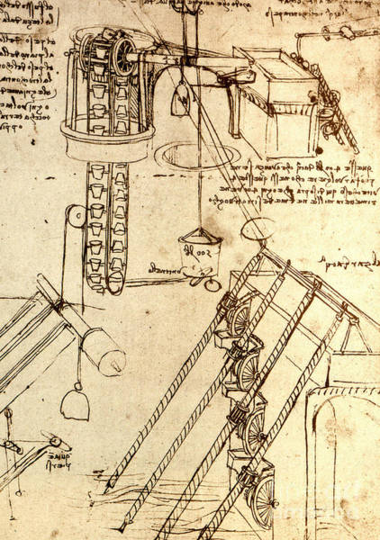 Wall Art - Drawing - Page From The Codex Atlanticus By Da Vinci by Leonardo Da Vinci