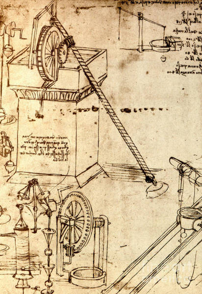 Wall Art - Drawing - Page From The Codex Atlanticus by Leonardo Da Vinci