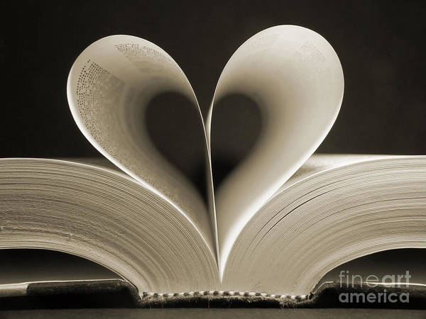 Symbolism Wall Art - Photograph - Pages Of A Book Curved Into A Heart by Gjs
