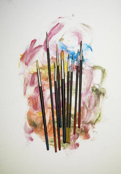 Art Object Photograph - Paint Brushes On Paint by Jonathan Kitchen