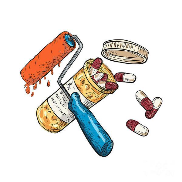 Wall Art - Digital Art - Paint Roller Medicine Capsule Bottle Drawing Color by Aloysius Patrimonio