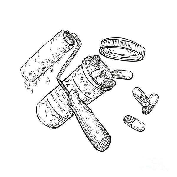 Wall Art - Digital Art - Paint Roller Medicine Pill Bottle Drawing Black And White by Aloysius Patrimonio