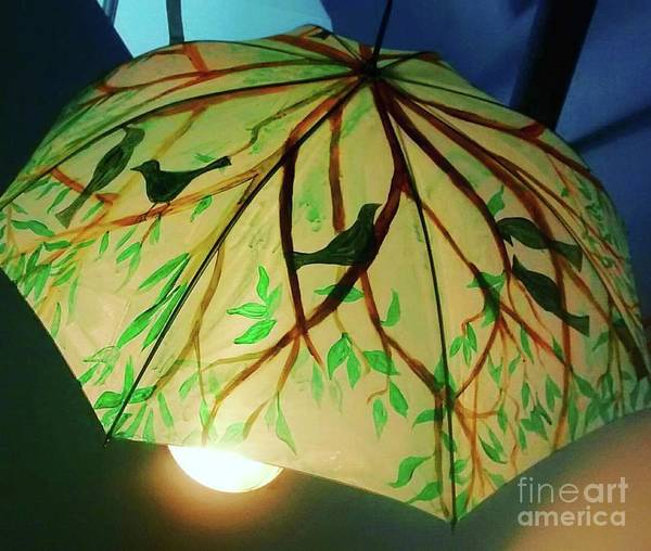 Utilitarian Painting - Painted Bird And Tree Umbrella by Genevieve Esson