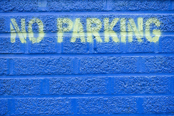 Parking Structure Photograph - Painted Blue Brick Wall With No Parking by John Nordell