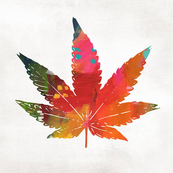 Wall Art - Mixed Media - Painted Cannabis Leaf 1- Art By Linda Woods by Linda Woods