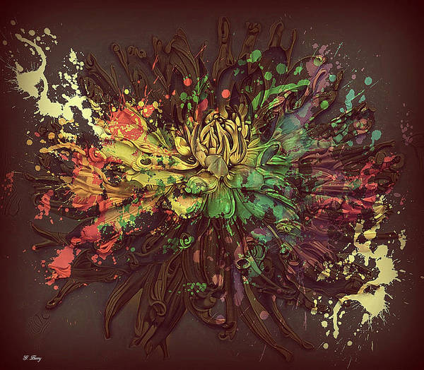 Spatter Mixed Media - Painted Dahlia by G Berry