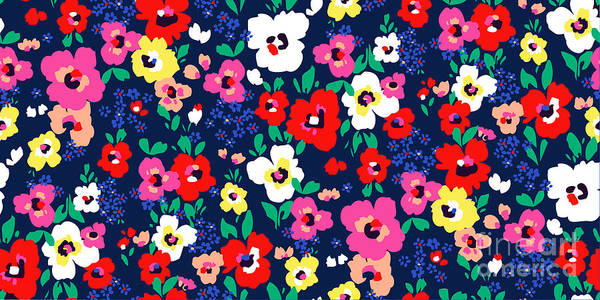Painted Flowers ~ Seamless Vector Art Print