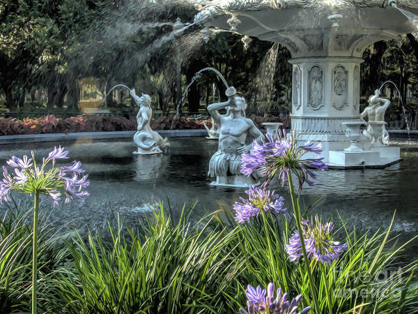 Wall Art - Photograph - Painted Flowers At Forsyth Park Fountain by Amy Dundon