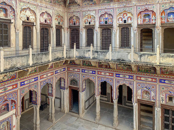 Photograph - Painted Frescoes At Shekhavati Haveli. by Usha Peddamatham
