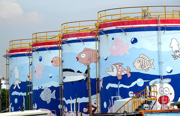 Photograph - Painted Fuel Storage Tanks by Yali Shi