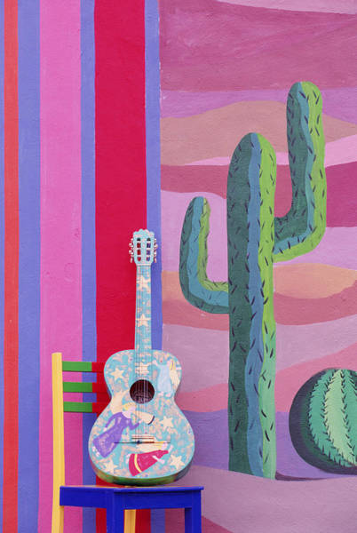 Wall Art - Digital Art - Painted Guitar, Chair & Wall In Cancun by Grant Faint
