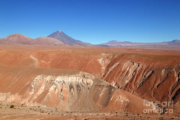 Photograph - Painted Hills And Licancabur Volcano Chile by James Brunker