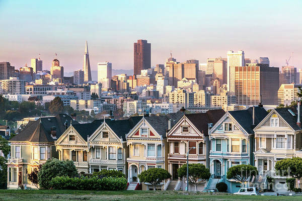 Wall Art - Photograph - Painted Ladies And Skyline At Sunset, San Francisco, California, by Matteo Colombo