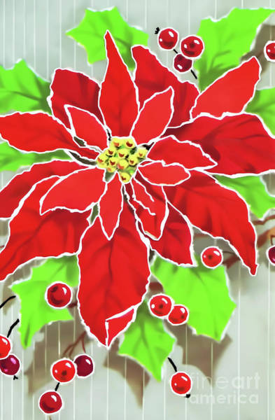 Digital Art - Painted Poinsettia by D Hackett
