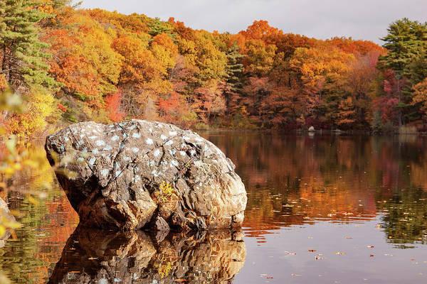 Photograph - Painted Rock Birch Pond Lynn Massachusetts by Jeff Folger