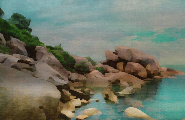 Painted Rocks At Full Tide Art Print
