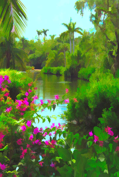 Mixed Media - Painted Tropical Lake by Rosalie Scanlon