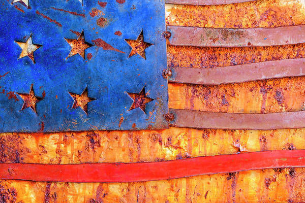 Wall Art - Photograph - Painted Us Flag, Georgia, Usa by Panoramic Images
