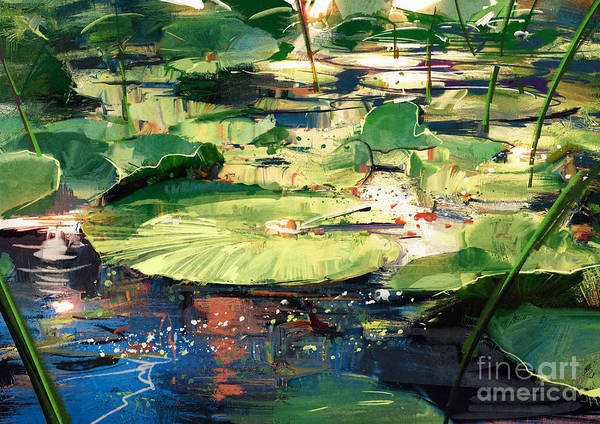 Wall Art - Digital Art - Painting Beautiful Showing Lotus Leaves by Tithi Luadthong