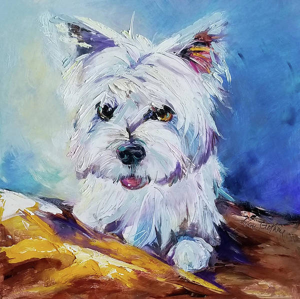 Wall Art - Painting - Painting Of A White West Highland Terrier by Kim Guthrie