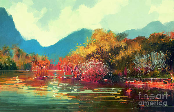 Wall Art - Digital Art - Painting Of Beautiful Autumn by Tithi Luadthong