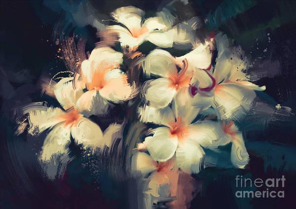 Digital Watercolor Digital Art - Painting Of Beautiful White Flowers In by Tithi Luadthong