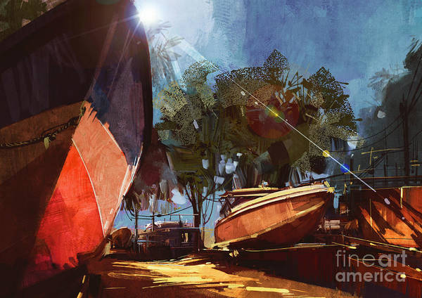 Wall Art - Digital Art - Painting Of Boat At The Dock For by Tithi Luadthong
