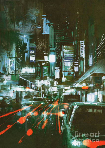 Scenery Digital Art - Painting Of Car Taillights On A City by Tithi Luadthong