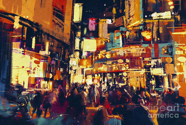 Shop Wall Art - Digital Art - Painting Of City Life At Night,people by Tithi Luadthong