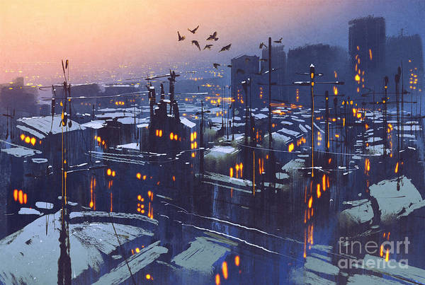 Wall Art - Digital Art - Painting Of City Snowy Winter by Tithi Luadthong