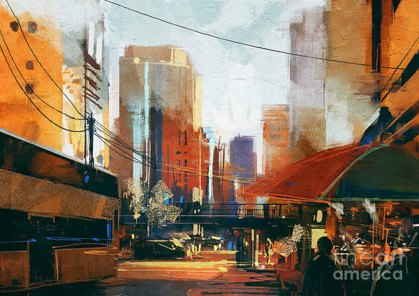 Wall Art - Digital Art - Painting Of City Street In The by Tithi Luadthong