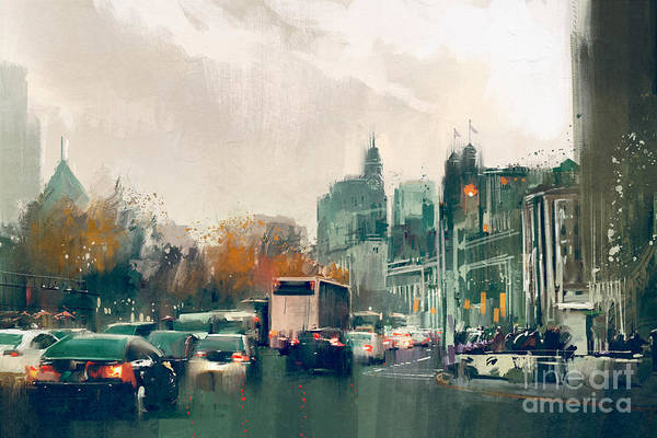 Wall Art - Digital Art - Painting Of City Street View With by Tithi Luadthong