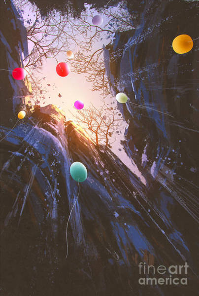 Wall Art - Digital Art - Painting Of Colored Balloons Floating by Tithi Luadthong