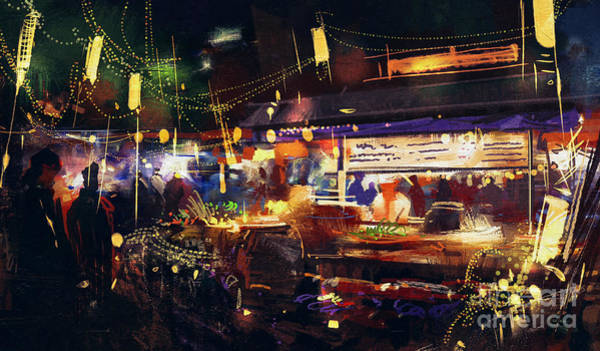 Scenery Digital Art - Painting Of Colorful Market At Night by Tithi Luadthong