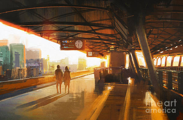 Wall Art - Digital Art - Painting Of Couple Waiting A Train On by Tithi Luadthong