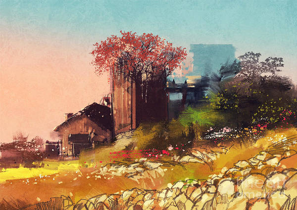 Farmhouse Wall Art - Digital Art - Painting Of Farm House On The Country by Tithi Luadthong