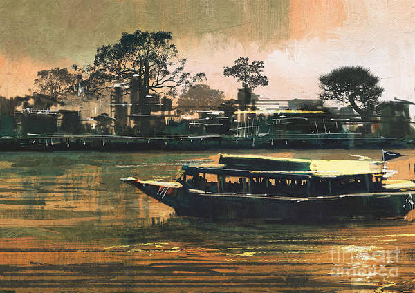 Scenery Digital Art - Painting Of Ferry Carries Passengers On by Tithi Luadthong
