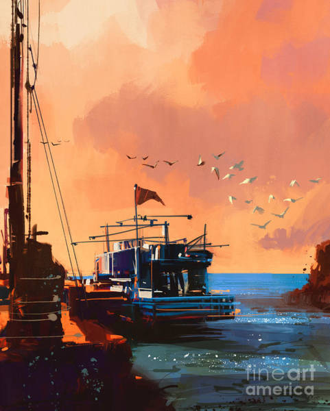 Shore Bird Digital Art - Painting Of Fishing Boat In Port At by Tithi Luadthong