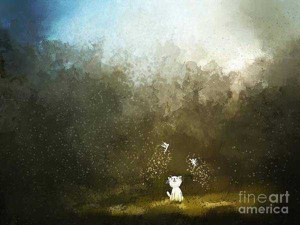 Wall Art - Digital Art - Painting Of Kitten Playing With Fairy by Archv